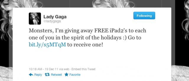 Lady Gaga's Twitter Hacked, Millions Promised FREE iPad 2