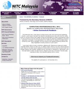 Computing Professionals BILL 2011 – Malaysia