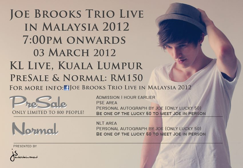 Joe Brooks coming to Malaysia this 3rd March!