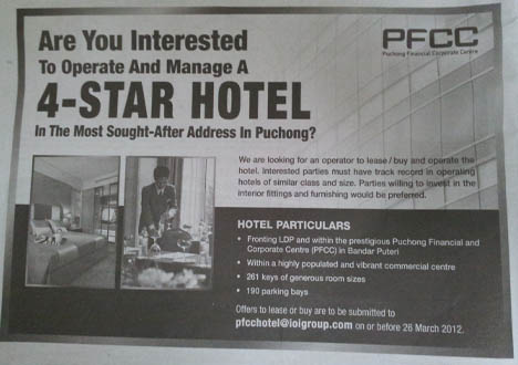 IOI Group Looking for Hotel Operator for it's 4 star Hotel in Puchong