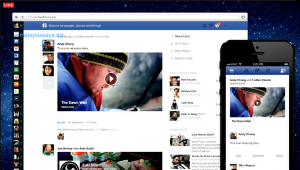 The New Facebook newsfeed design on web and mobile.
