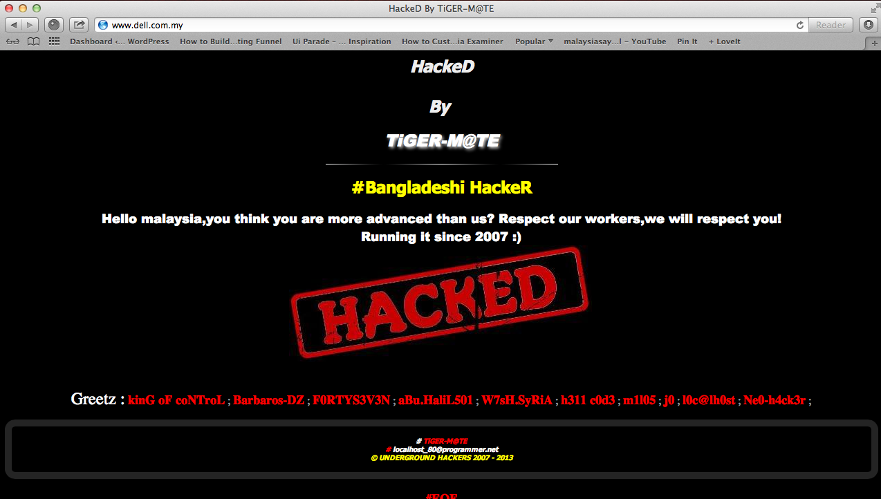 Malaysian Websites hacked by Bangladesh Hackers