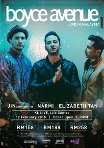 Boyce Avenue live in KL Live, Life Centre poster.