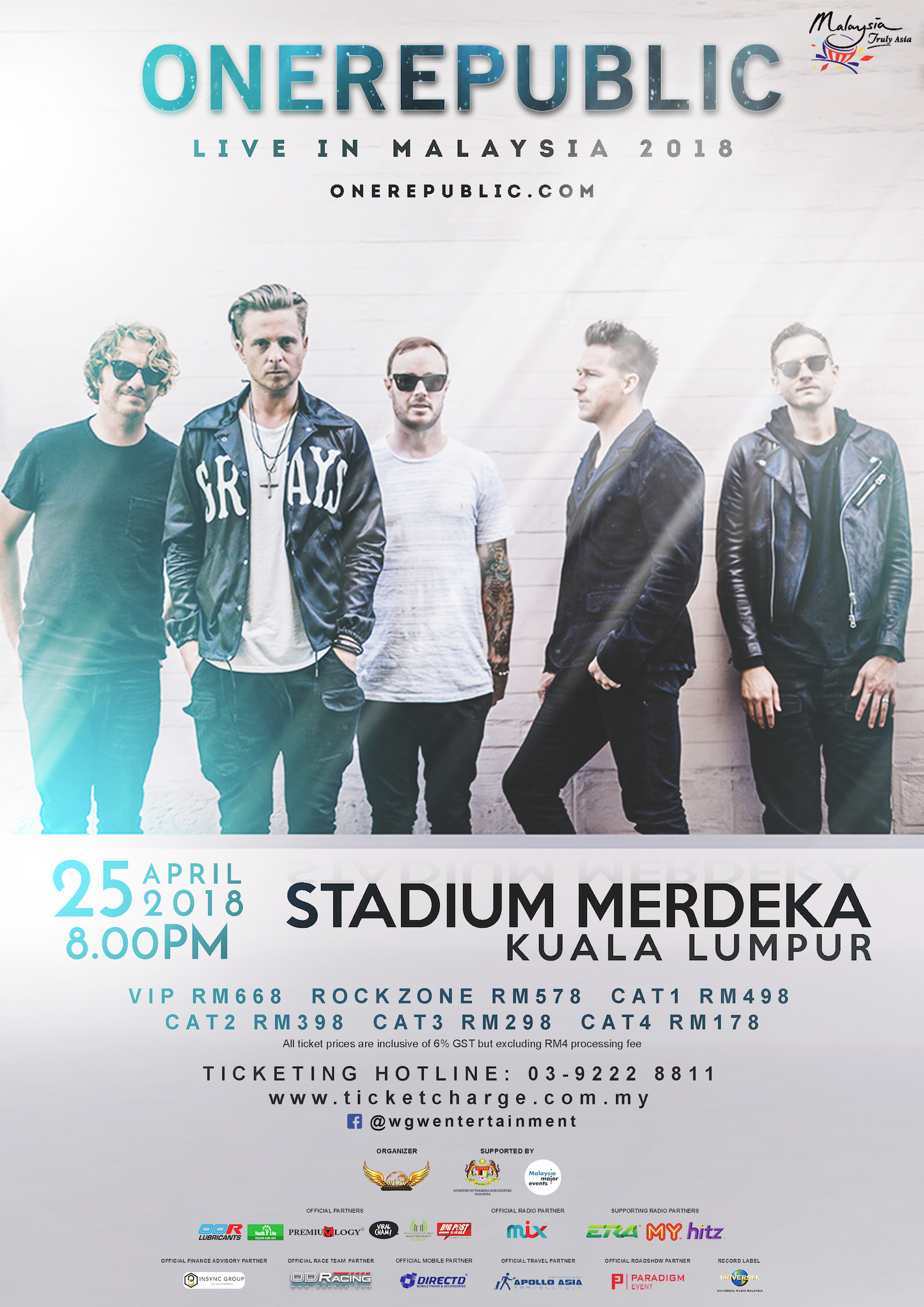 ONEREPUBLIC Live in Malaysia, April 25th 2018